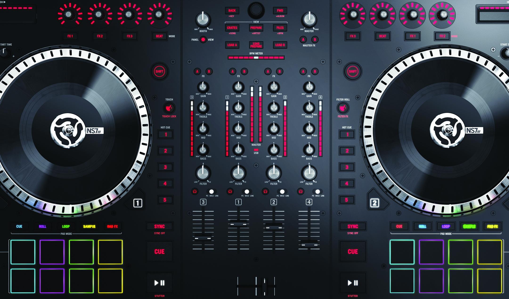 Ns7iii 4 Channel Motorized Dj Controller Amp Mixer W Screens